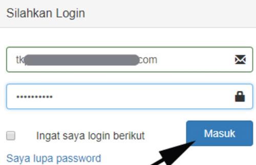 Lalu masukkan username dan password sebelumnya