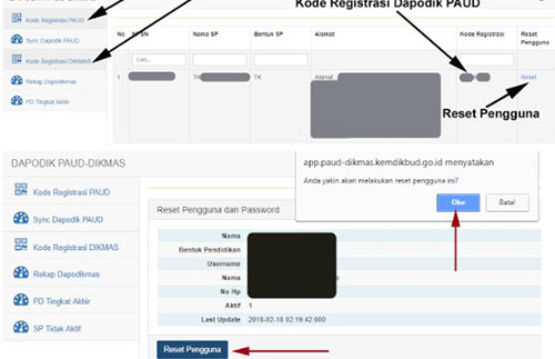 Nantinya anda akan diarahkan ke halaman seperti gambar dibawah ini, tinggal anda klik Reset Pengguna lalu klik OK