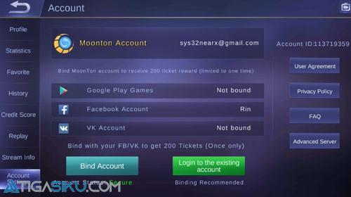 Selanjutnya anda klik Account Setting