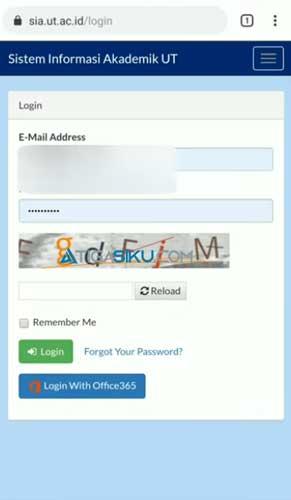 Kemudian kamu masukkan alamat email password dan kode captcha yang ada di halaman tersebut jika sudah maka kamu tinggal klik Login