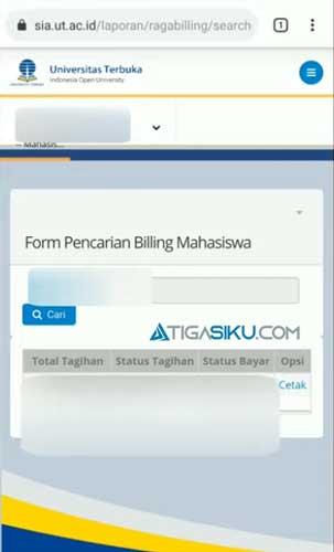 Pada halaman Form Pencarian Billing Mahasiswa kamu pilih menu Cetak
