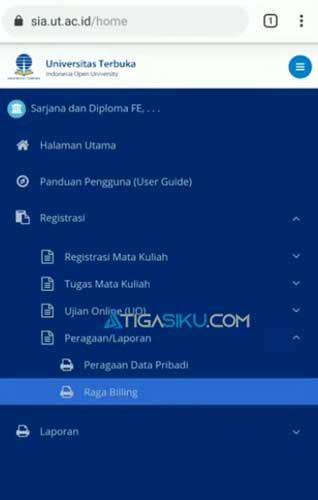 Pada halaman utama kamu pilih menu Registrasi lalu pilih PeragaanLaporan dan klik menu Raga Billing