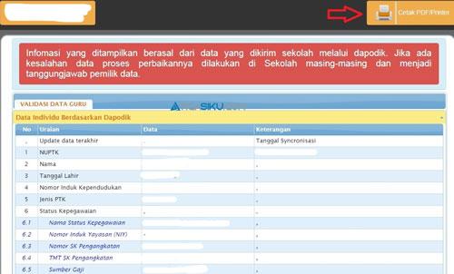 6. Cetak Info GTK