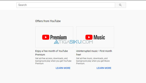 Pilih Youtube Premium