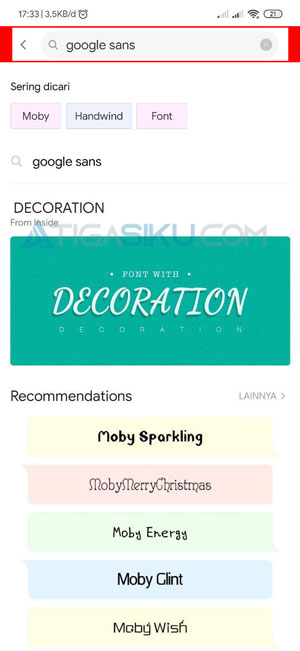 Cari Font yang Ingin Digunakan