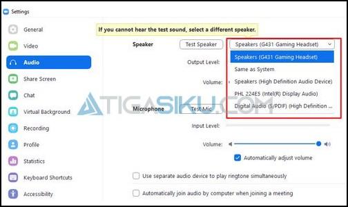 Pilih Output Speaker