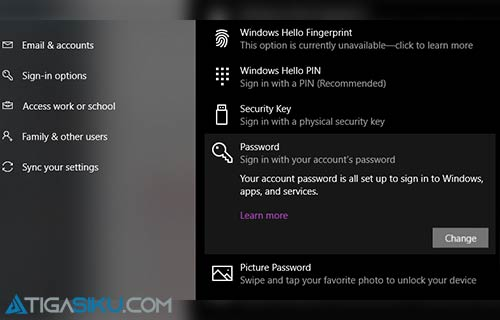 Ganti Password Komputer Windwows 10