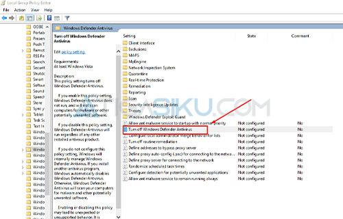 Turn off Windows Defender Antivirus