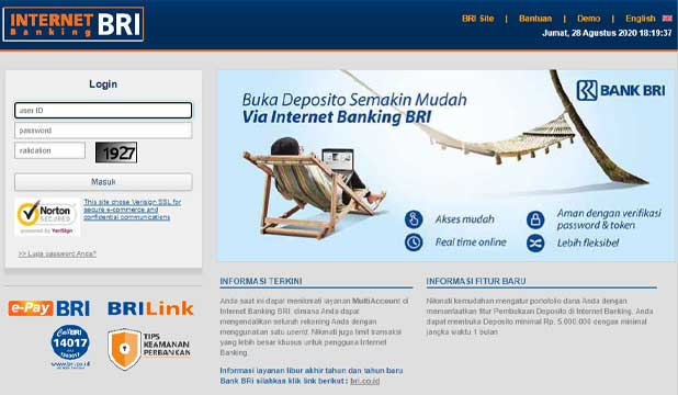 Enable Kartu Pakai IB BRI Website
