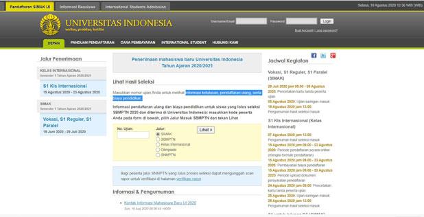 Pertama Buka Situs Pengecekan SIMAK UI