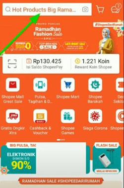 1. Silahkan klik menu Pencarian Produk di Aplikasi Shopee