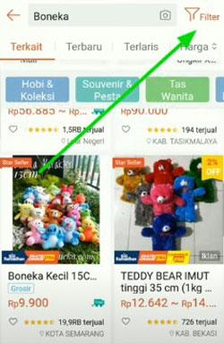 3. Untuk mencari toko terdekat yang menjual produk yang kamu cari maka silahkan klik menu Filter yang berada dibagian pojok kanan atas