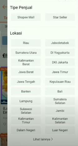 4. Lihat pada bagian Lokasi jika nama kota atau provinsi kamu belum muncul maka klik lihat lainnya