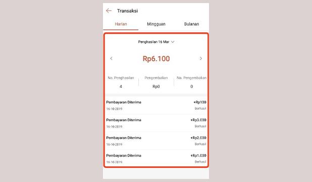 Lihat Detail Transaksi di Dashboard Merchant ShopeePay