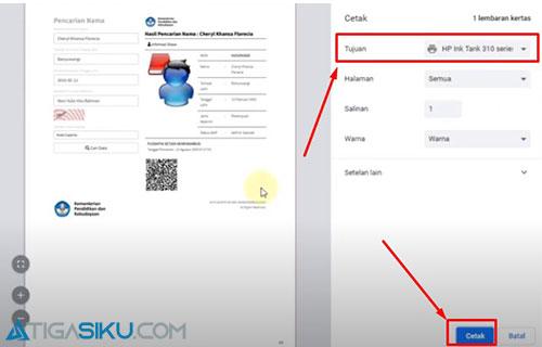 4. Cetak Kartu atau Simpan PDF