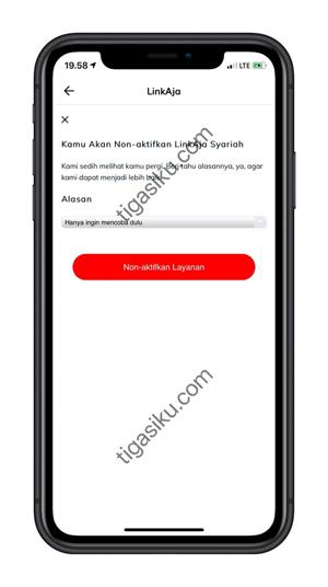 Pilih Alasan dan klik Non Aktifkan Akun