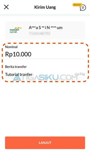 Masukkan Nominal Transfer 1