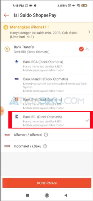 Pilih Bank BRI Otomatis