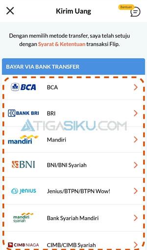 Pilih Bank Pengirim yang Digunakan