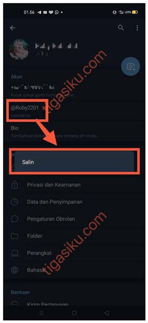 Salin Username
