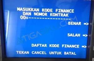 Masukkan Kode Finance dan Nomor Kontrak
