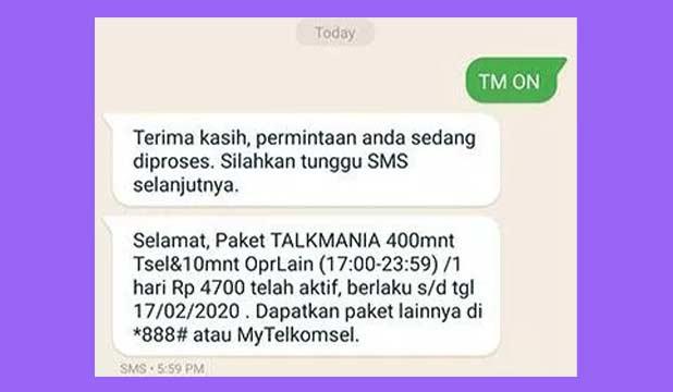 Daftar Talk Mania simPATI Lewat SMS