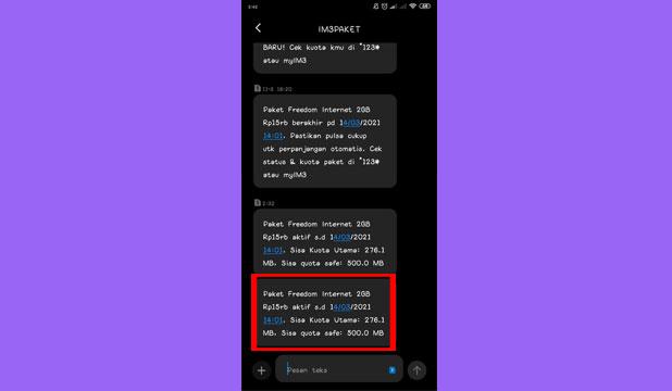 Info Sisa Kuota Akan Dikirim Lewat SMS