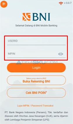 Login Akun BNI Mobile