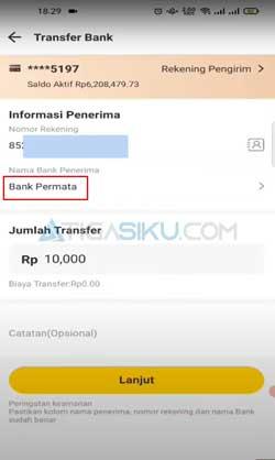Masukkan Nomor VA Nominal Transfer