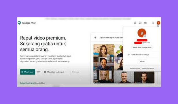 Pilih Menu Akun Google Meet