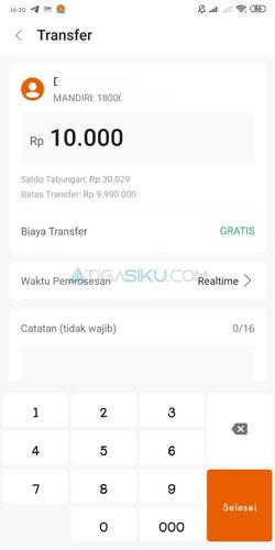 Masukkan Jumlah Transfer