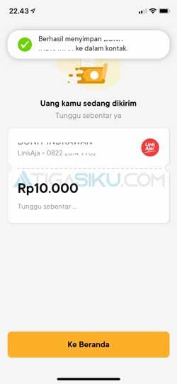 Top Up LinkAja Lewat Bank Jago Berhasil