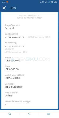 Top Up SeaBank Lewat Mandiri Online Berhasil