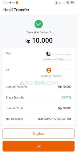 Transfer ke Bank Lain Selesai