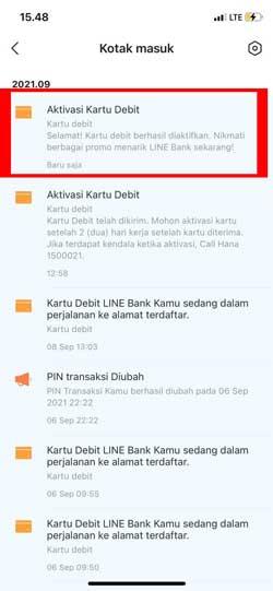 Aktivasi Kartu Line Bank Berhasil
