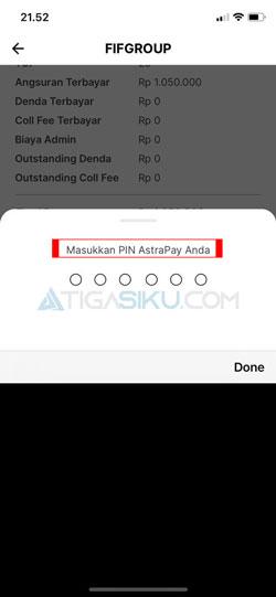 Masukkan PIN AstraPay 3