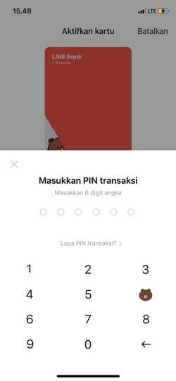 Masukkan PIN Transaksi Line Bank