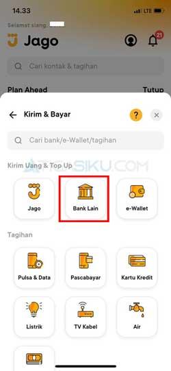Pilih Bank Lain