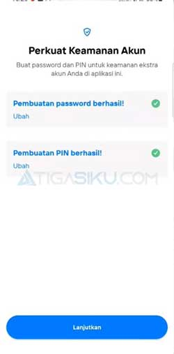 Buat Password PIN Akun