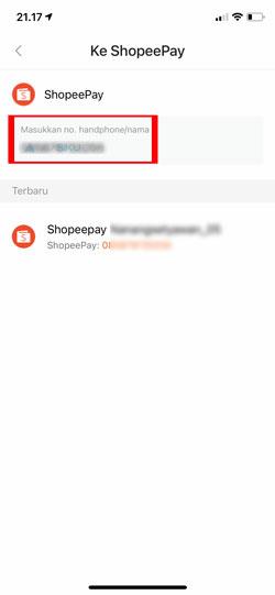 Masukkan Nomor HP ShopeePay